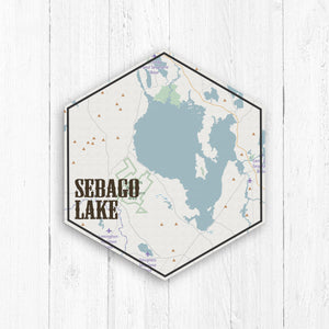 Sebago Lake Hexagon Map Print