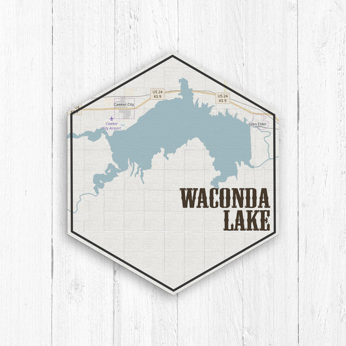 Waconda Lake Kansas Hexagon Map Print