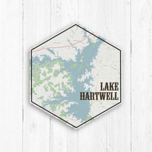Lake Hartwell Hexagon Canvas Map