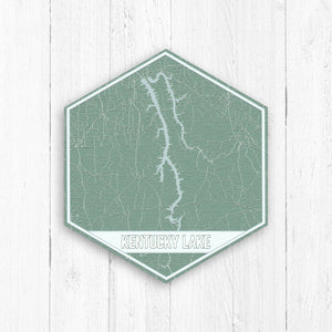 Kentucky Lake Hexagon Print: Greens
