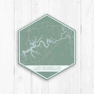 Lake Cumberland Kentucky Hexagon Print: Light