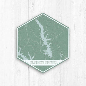 Toledo Bend Reservoir Louisiana Hexagon Map Print