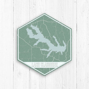 Lake Claiborne Louisiana Hexagon Print: Natural