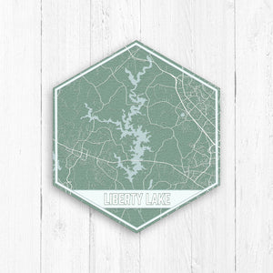 Liberty Lake Maryland Hexagon Print