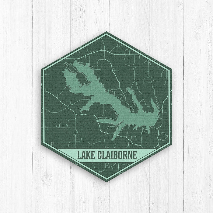 Lake Claiborne Louisiana Hexagon Print: Green