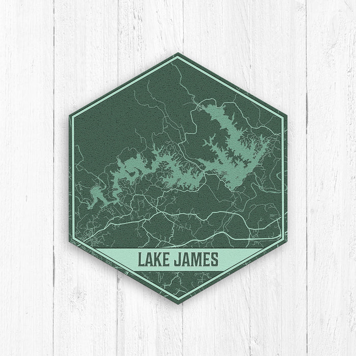 Lake James North Carolina Hexagon Print: Green