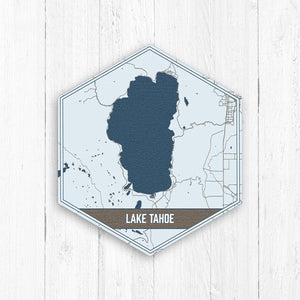 Lake Tahoe Nevada Hexagon Lake Print: Navy