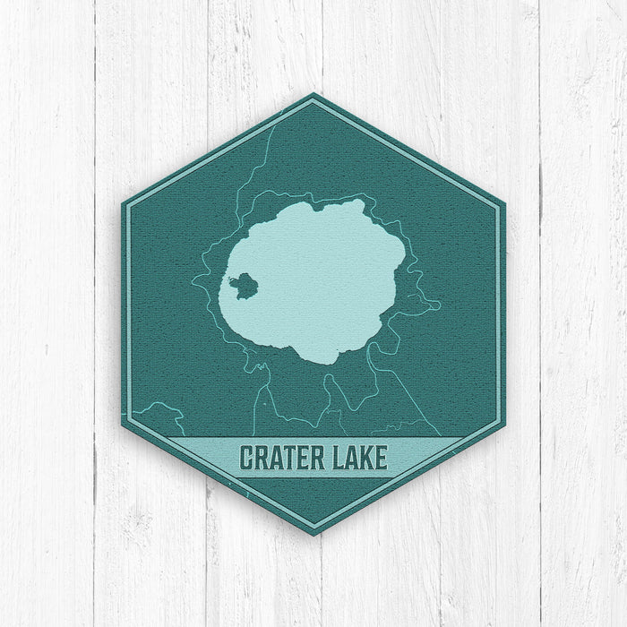 Crater Lake Oregon Hexagon Map Print