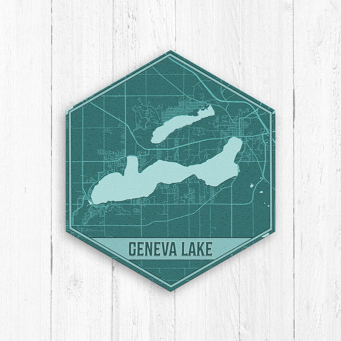 Geneva Lake Wisconsin Hexagon Map Print