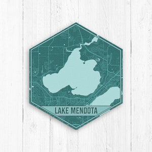 Lake Mendota Wisconsin Hexagon Print