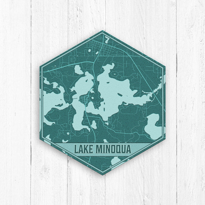 Lake Minoqua Wisconsin Hexagon Print