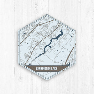 Farrington Lake New Jersey Hexagon Map Print