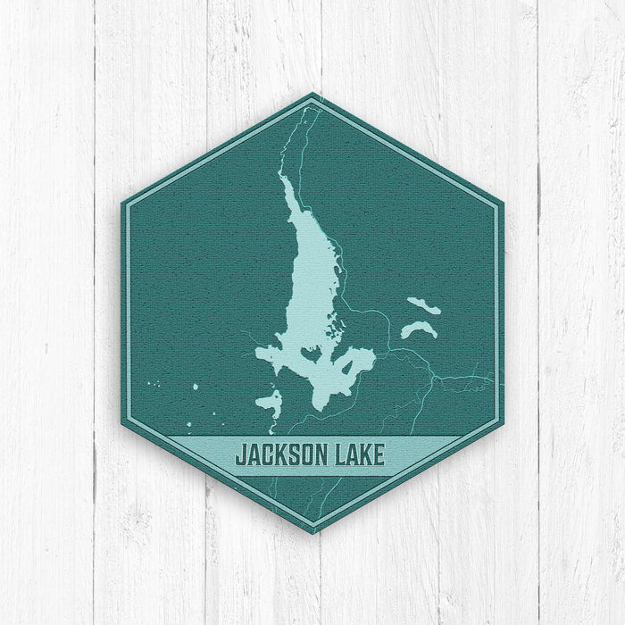 Jackson Lake Wyoming Hexagon Print Blues