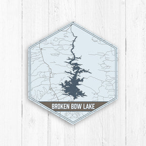 Broken Bow Lake Oklahoma Hexagon Map Print