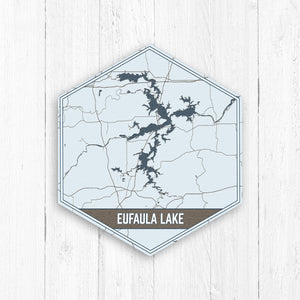 Eufaula Lake Oklahoma Hexagon Map Print