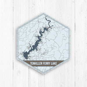 Tenkiller Ferry Lake Oklahoma Hexagon Map Print