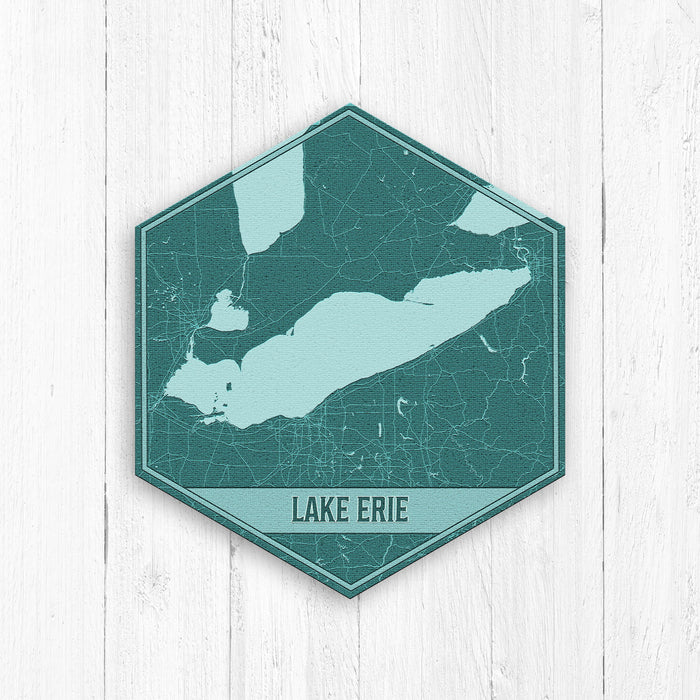 Lake Erie Michigan Hexagon Print