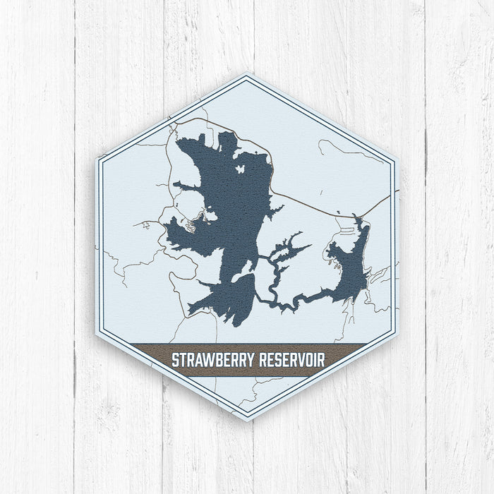 Strawberry Reservoir Utah Hexagon Map Print
