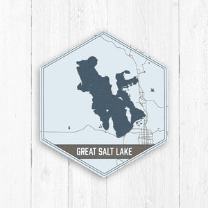 Great Salt Lake Utah Hexagon Map Print