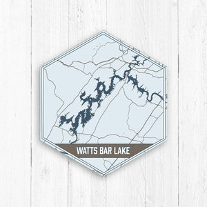 Watts Bar Lake Tennessee Hexagon Map Print