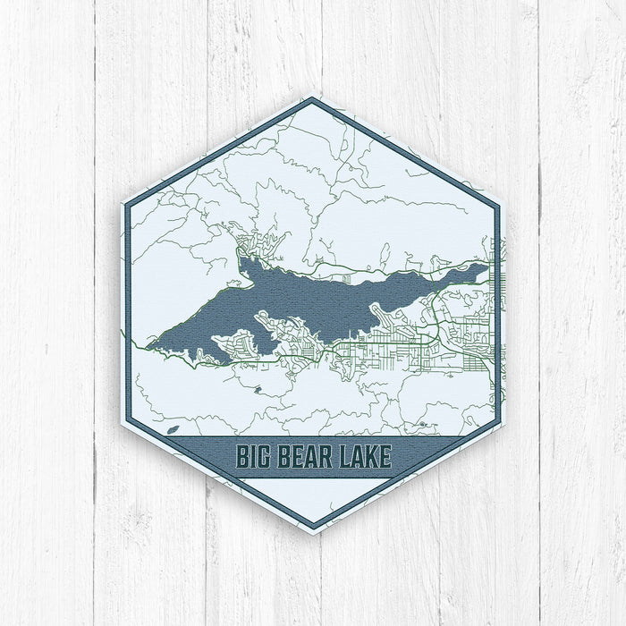 Big Bear Lake California Hexagon Map Print