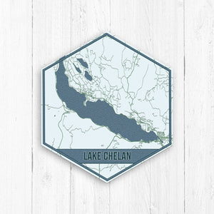 Lake Chelan Washington Hexagon Print: Nautical