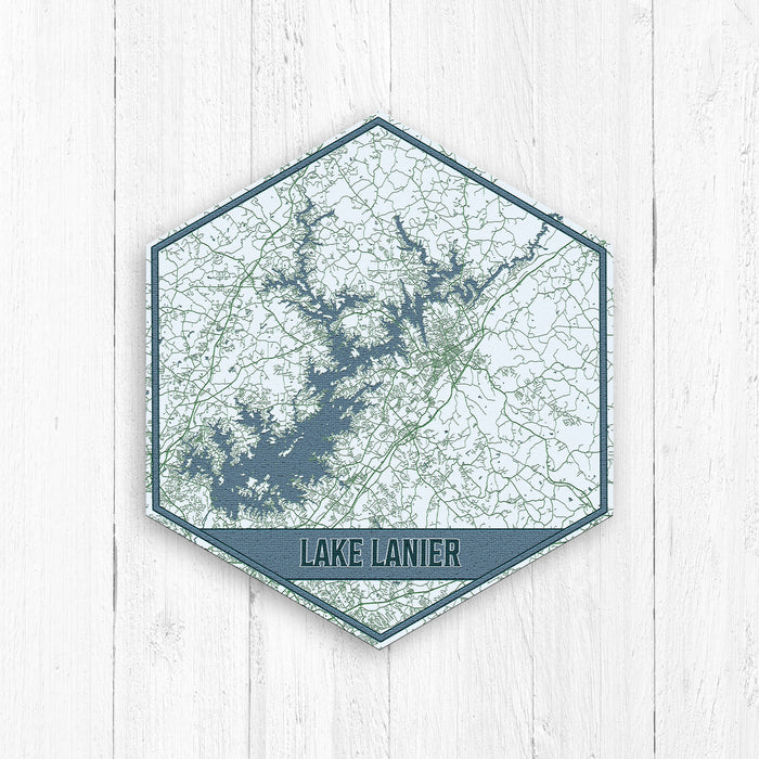 Lake Lanier Georgia Hexagon Print: Light