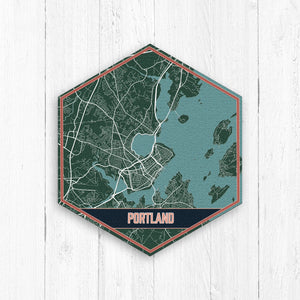 Portland Maine Hexagon Street Print