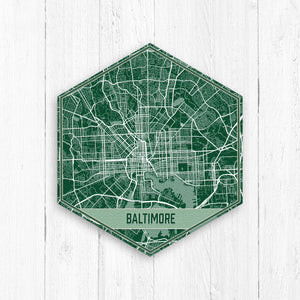 Baltimore Maryland Hexagon City Street Map Print