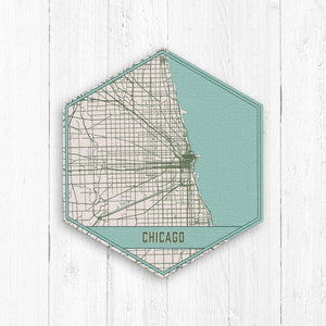 Chicago Illinois Hexagon City Street Map Print