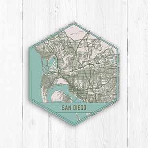 San Diego California Hexagon City Street Map Print