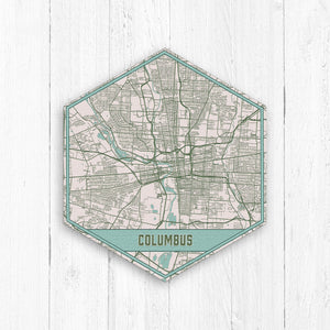 Columbus Ohio Hexagon City Street Map Print