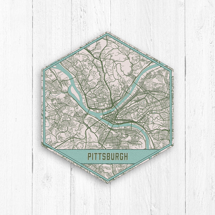 Pittsburgh Pennsylvania Hexagon Map Print