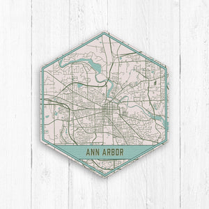 Ann Arbor Michigan Hexagon City Street Map Print