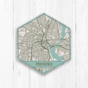 Providence Rhode Island Hexagon City Street Map Print
