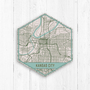 Kansas City Missouri Hexagon City Street Map Print