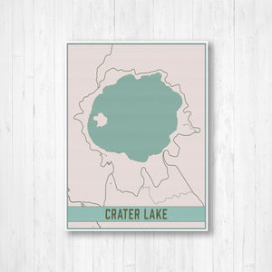 Crater Lake Oregon Lake Map Print