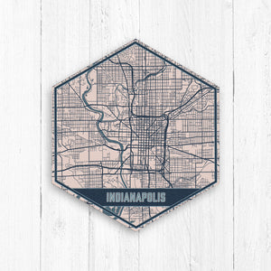 Indianapolis Hexagon City Street Map Print
