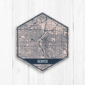 Denver Colorado Hexagon City Street Map Print