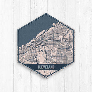 Cleveland Ohio Hexagon City Street Map Print
