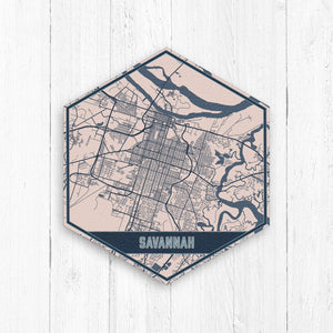 Savannah Georgia Hexagon City Street Print