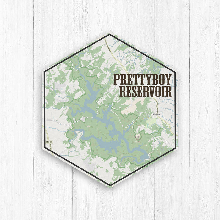 Prettyboy Reservoir Maryland Hexagon Map Canvas