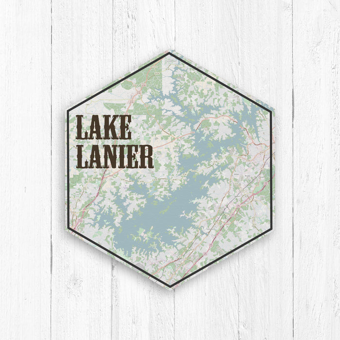 Lake Lanier Georgia Hexagon Canvas: Vintage