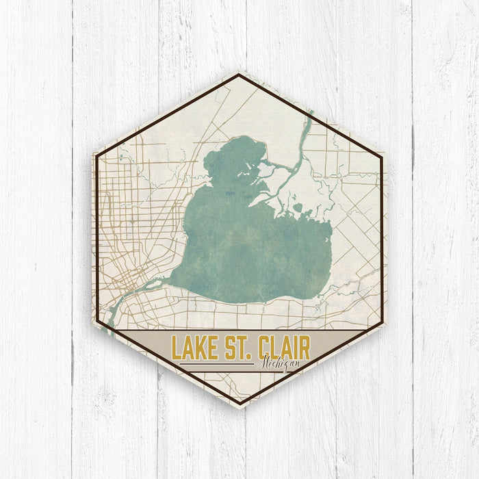 Lake St Clair Michigan Hexagon Canvas