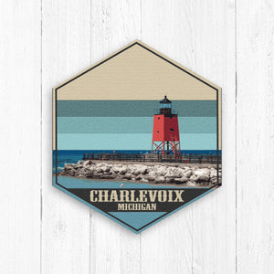 Charlevoix Michigan Hexagon Illustration
