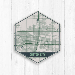 Custom Hexagon City Street Map Print