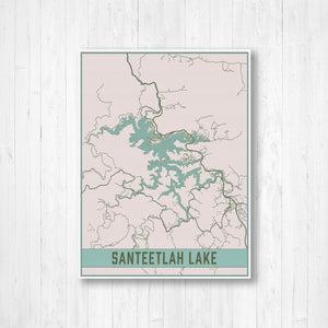 Santeetlah Lake North Carolina Map Print