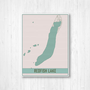 Redfish Lake Idaho Map Print