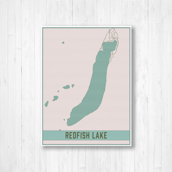 Redfish Lake Idaho Lake Map Print