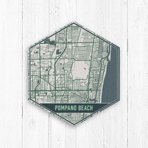 Pompano Beach Florida Hexagon Street Map Print